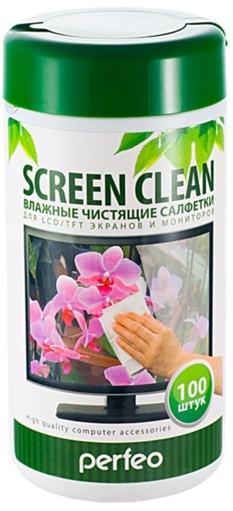 """Чистящие средства: Perfeo чистящие салфетки """"Screen Clean"""", для LCD/TFT экранов и мониторов, в тубе, 100шт. в A-Центр Пульты ДУ"""