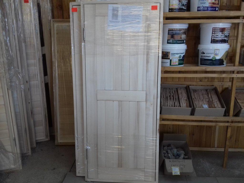 Двери для саун и бань: Дверь банная в коробке на петлях (массив осины, сорт А) в Погонаж