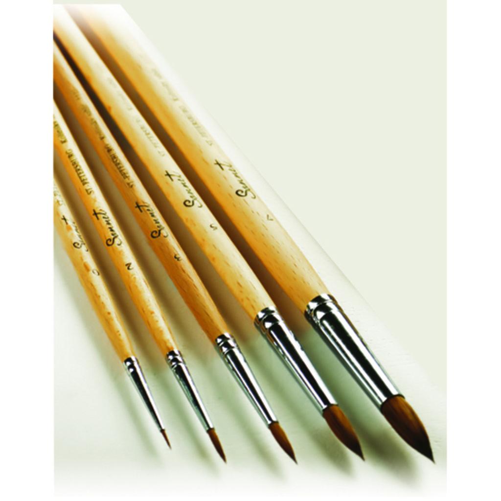 Колонок: Кисть колонок круглая длинная ручка пропитанная лаком Сонет №7 в Шедевр, художественный салон