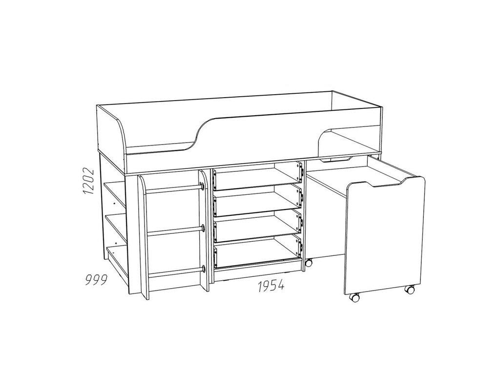 Детские и подростковые кровати: Кровать с выкатным столом НМ 011.56 ММ Рико-М (800x1900, усилен. настил) в Стильная мебель