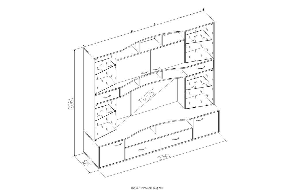 Шкафы, общие: Шкаф МЦН Полина в Стильная мебель