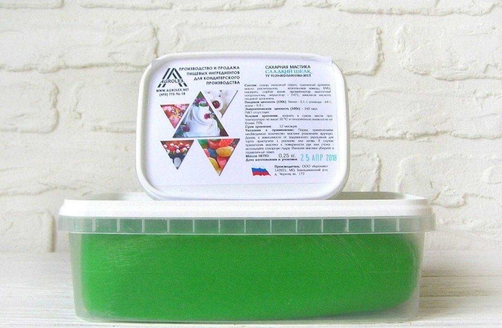 Мастика: Мастика сахарная для обтяжки Сладкий шелк Травянисто-зеленая 1кг в ТортExpress