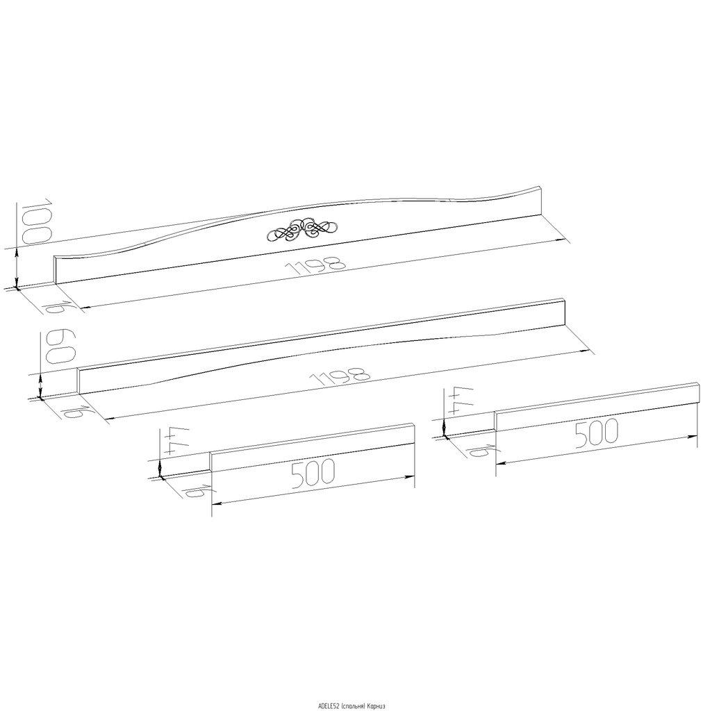Мебельные направляющие и комплектующие: Карниз ADELE 52 в Стильная мебель