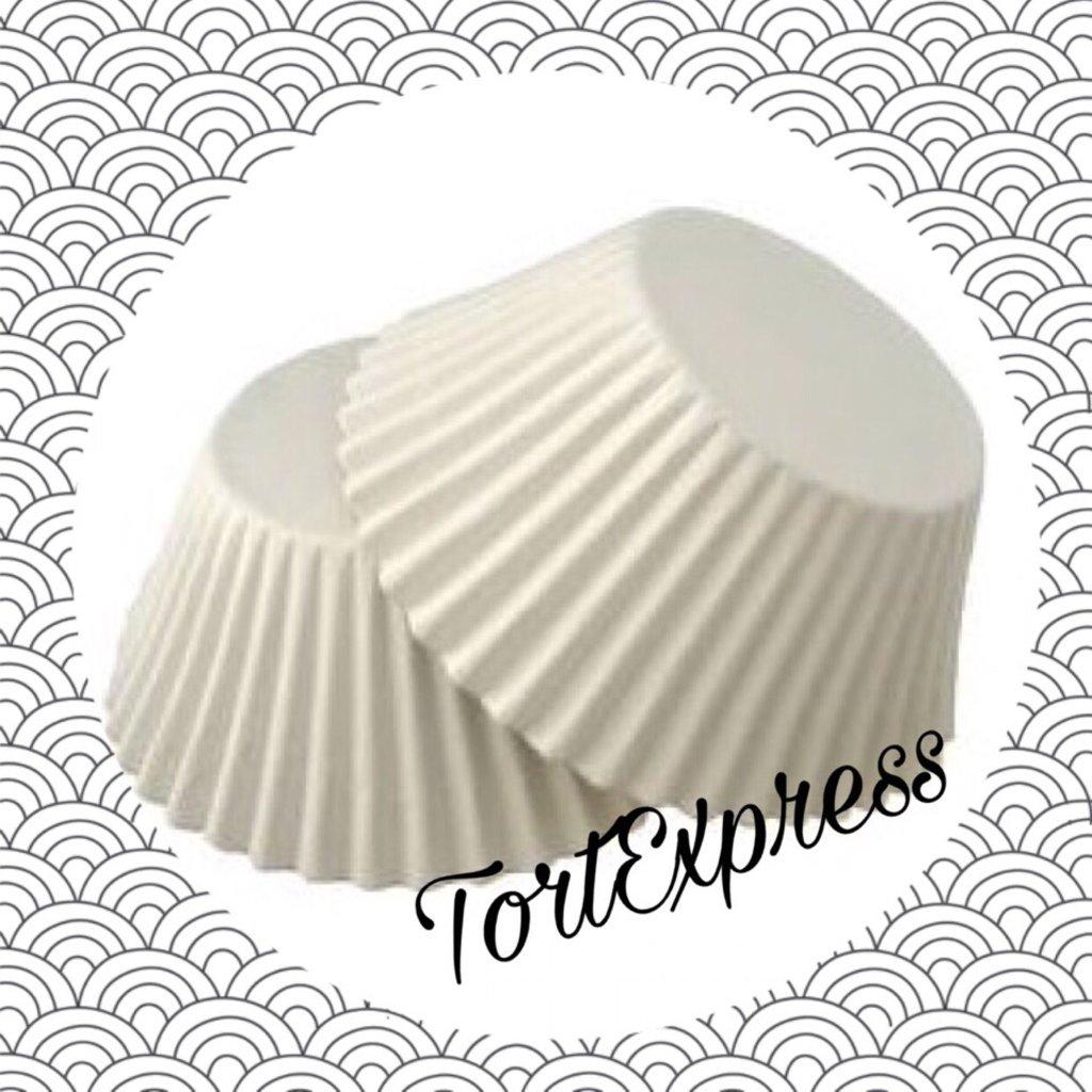 Формы бумажные для выпекания маффинов, пирогов, куличей: Тарталетка бумажная Круг белая  2   25х16 мм  (100штук) в ТортExpress