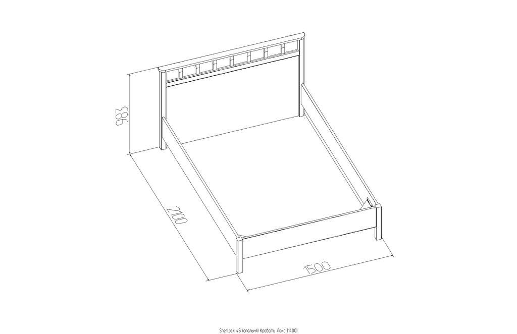 Кровати: Кровать Люкс Sherlock 48 (1400, орт. осн. дерево) в Стильная мебель