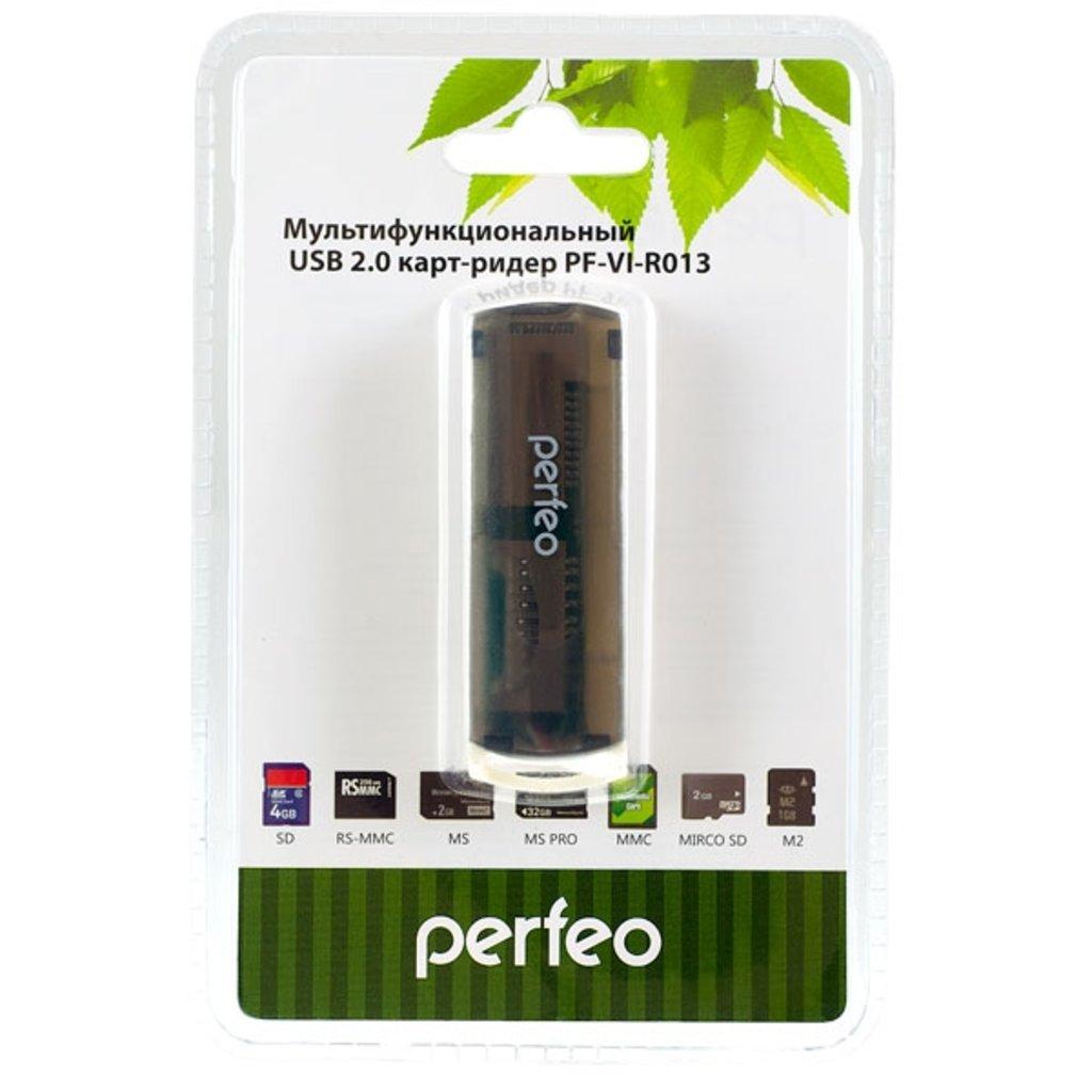 Карты памяти, USB-накопители, Картридеры: Картридер для SD+MicroSD+MS+M2 Black ( PERFEO PF-VI-R013 ) в A-Центр Пульты ДУ