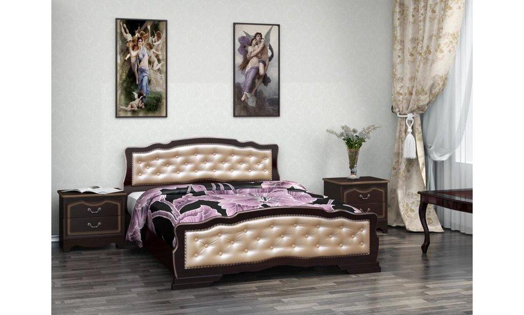 Кровати: Кровать Карина-10 с элементами экокожи (массив) в Уютный дом