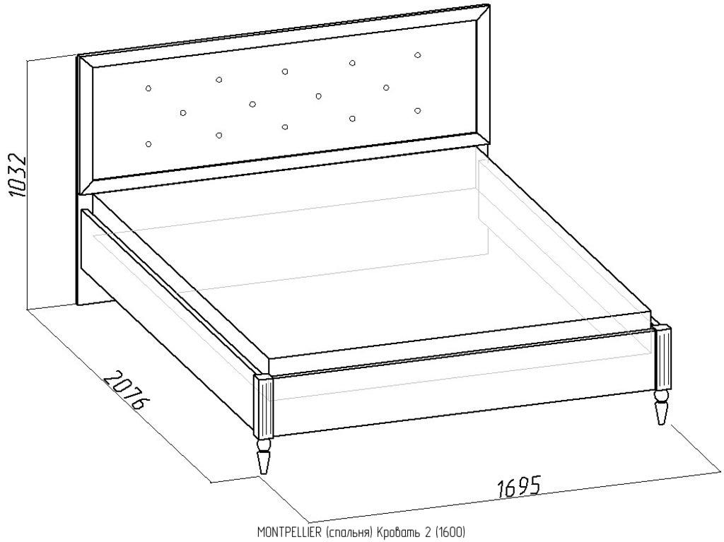 Кровати: Кровать Montpellier 2 (1600, орт. осн. дерево) в Стильная мебель
