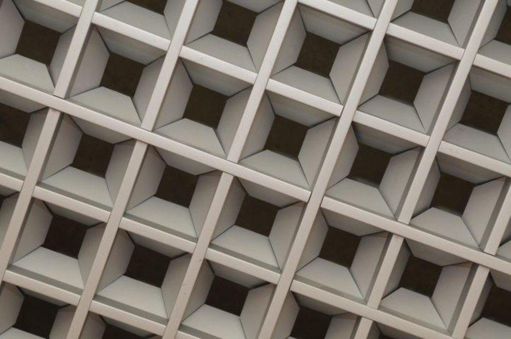 Потолки грильято: Пирамидальный грильято 200х200 выс.35/шир.10 белый матовый А902 в Мир Потолков