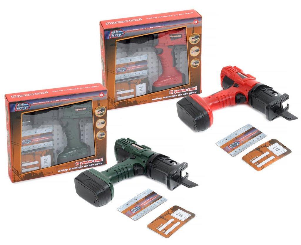 """Игрушки для мальчиков: Набор """"Инструменты"""" """"BeBoy"""" лобзик на батарейках, в комплекте линейка + карточка, 2 цвета в ассортименте в Игрушки Сити"""