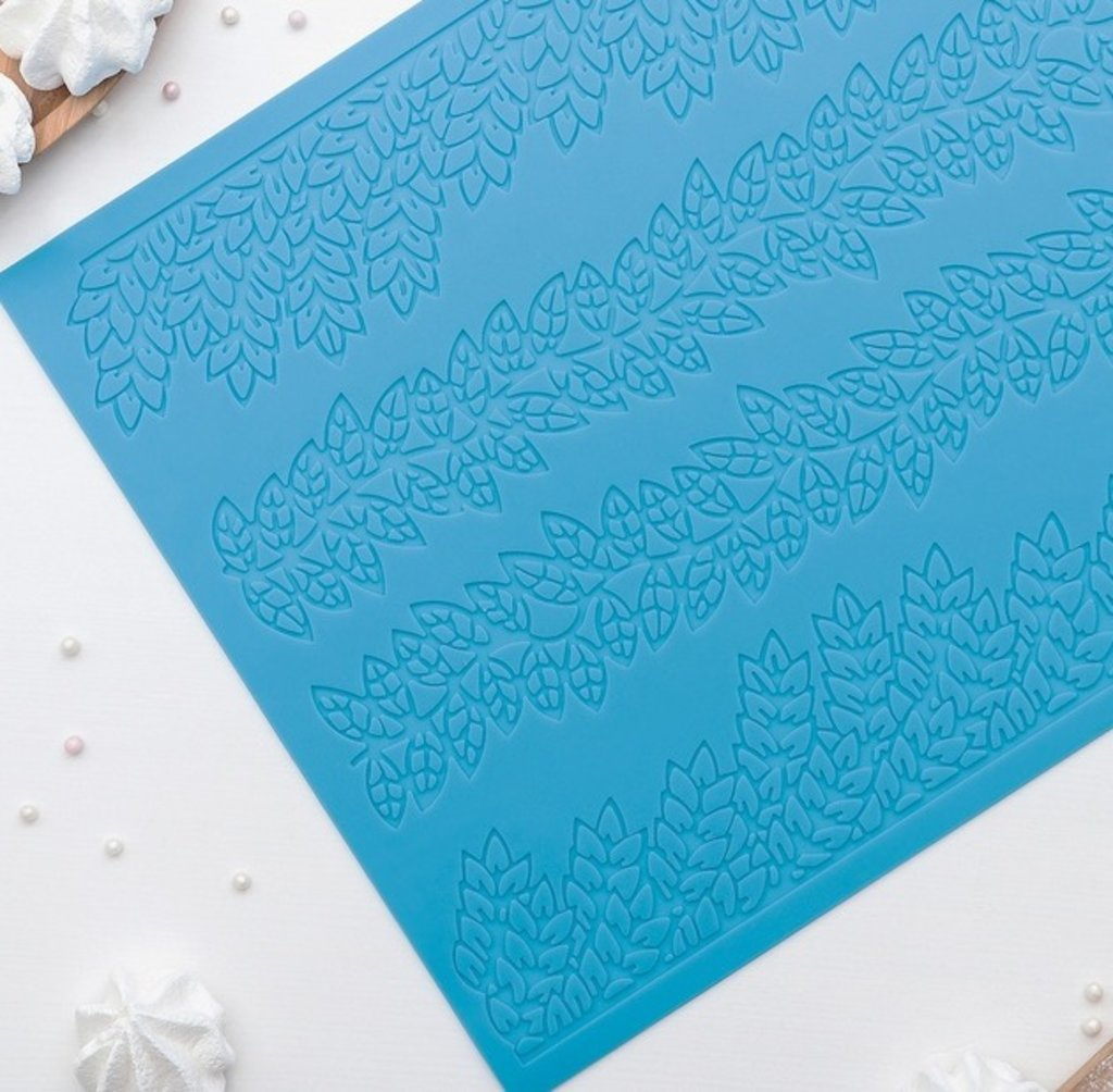 Коврики для айсинга: Коврик для айсинга Листики 4 полосы 39х28,7 см в ТортExpress