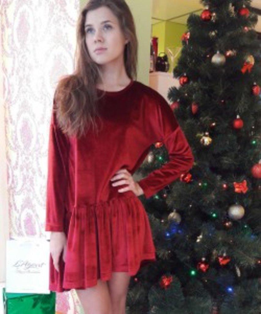 SALE: Платье Sesso с воланом из бархата бордовое в Sesso