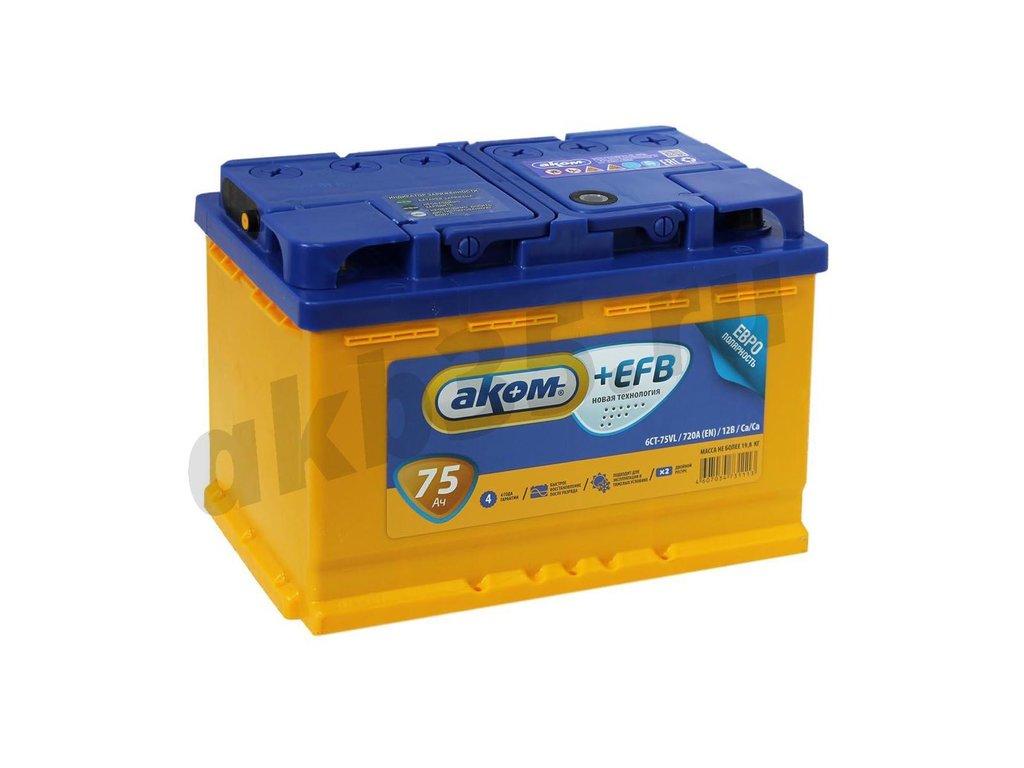 Аккумуляторы: АКОМ 75 А/ч Прямой EFB в Планета АКБ