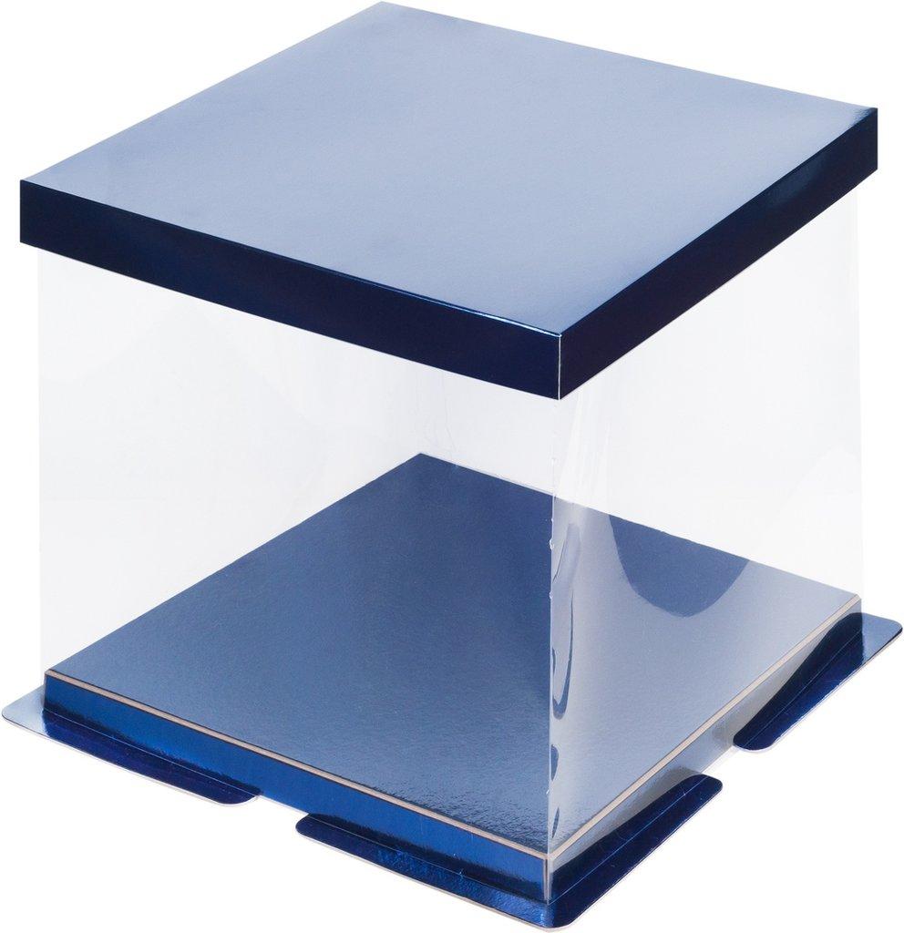Коробки для тортов: Коробка под торт ПРЕМИУМ 260х260х280 СИНЯЯ в ТортExpress