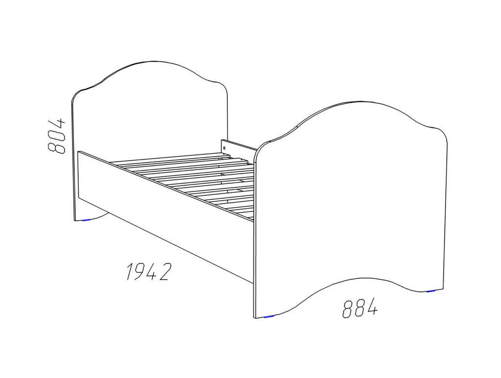 Детские и подростковые кровати: Кровать НМ 008.62 Прованс Шери (800x1900, усилен. настил) в Стильная мебель