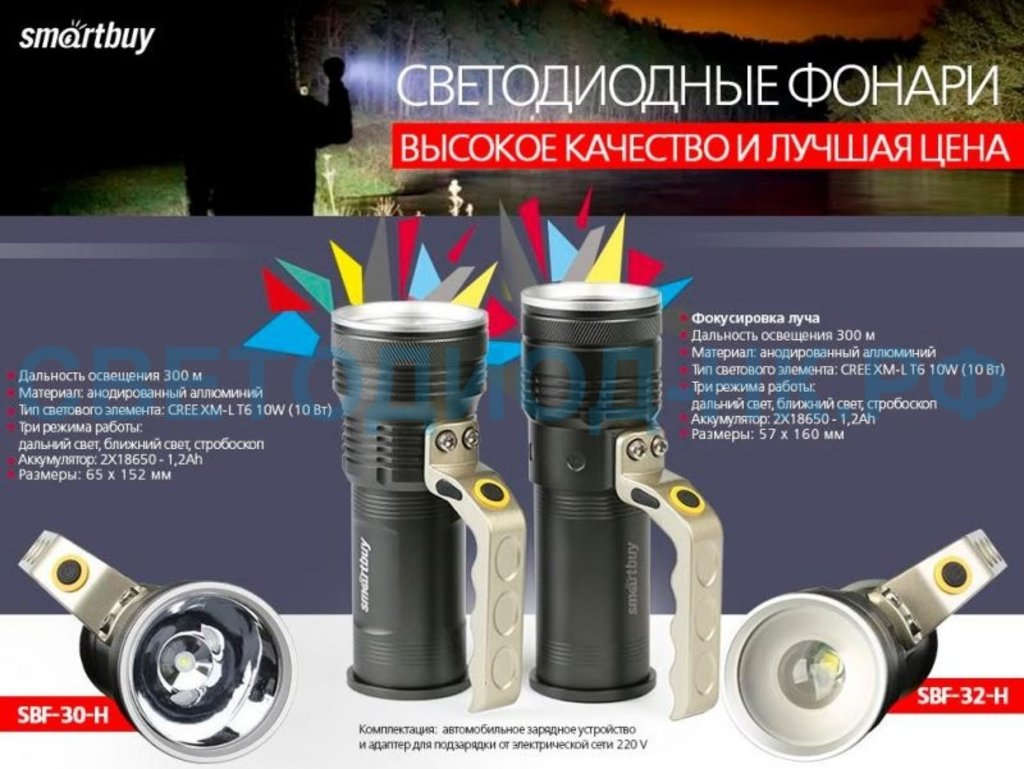 Ручные фонари: Фонарь SMARTBUY светодиод.аккум.CREE T6 10W, метал.с ручкой, аккум.2x18650, IP54 SBF-30 в СВЕТОВОД