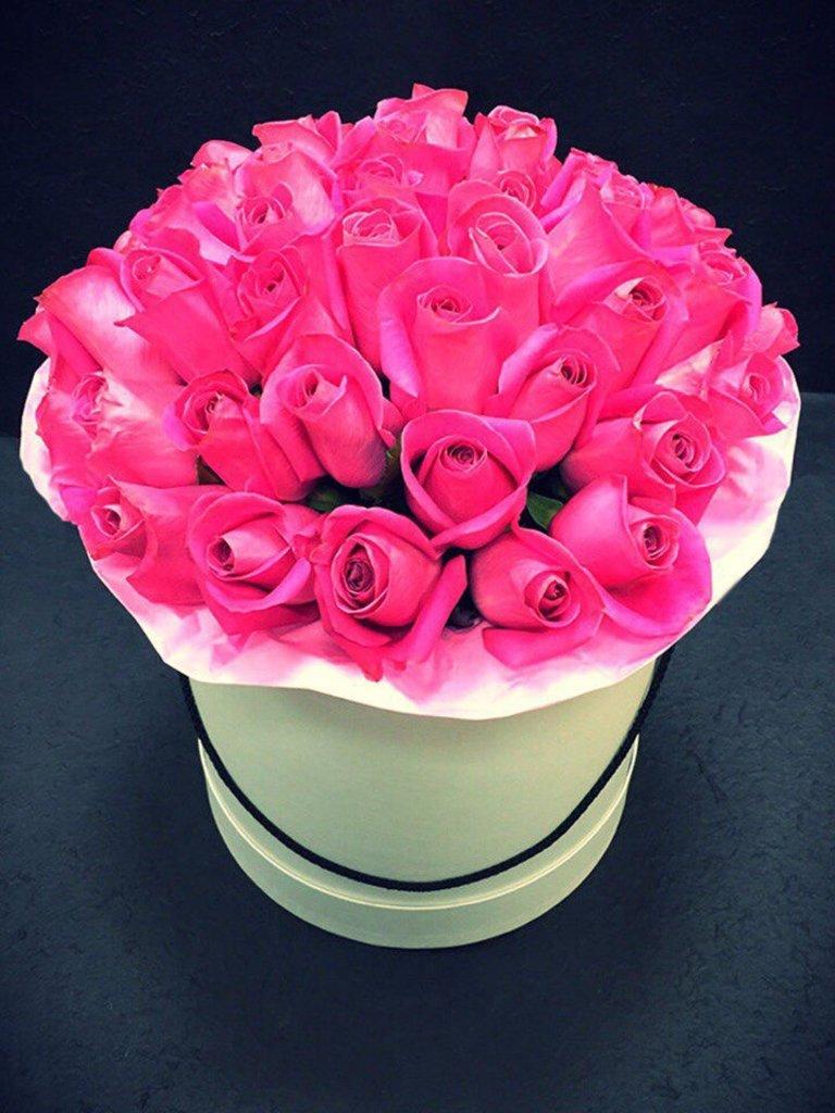 Цветы в коробке: Розовые розы в круглой коробке в Николь, магазины цветов