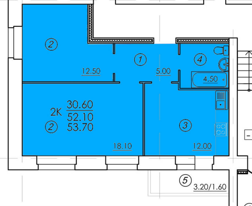 Двухкомнатные квартиры: Двухкомнатная квартира (№1) в РСУ-15  Специализированный застройщик ООО