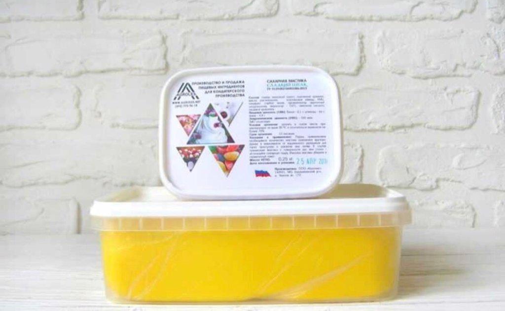 Ингредиенты: Мастика сахарная для обтяжки Сладкий шелк Желтая 1 кг в ТортExpress