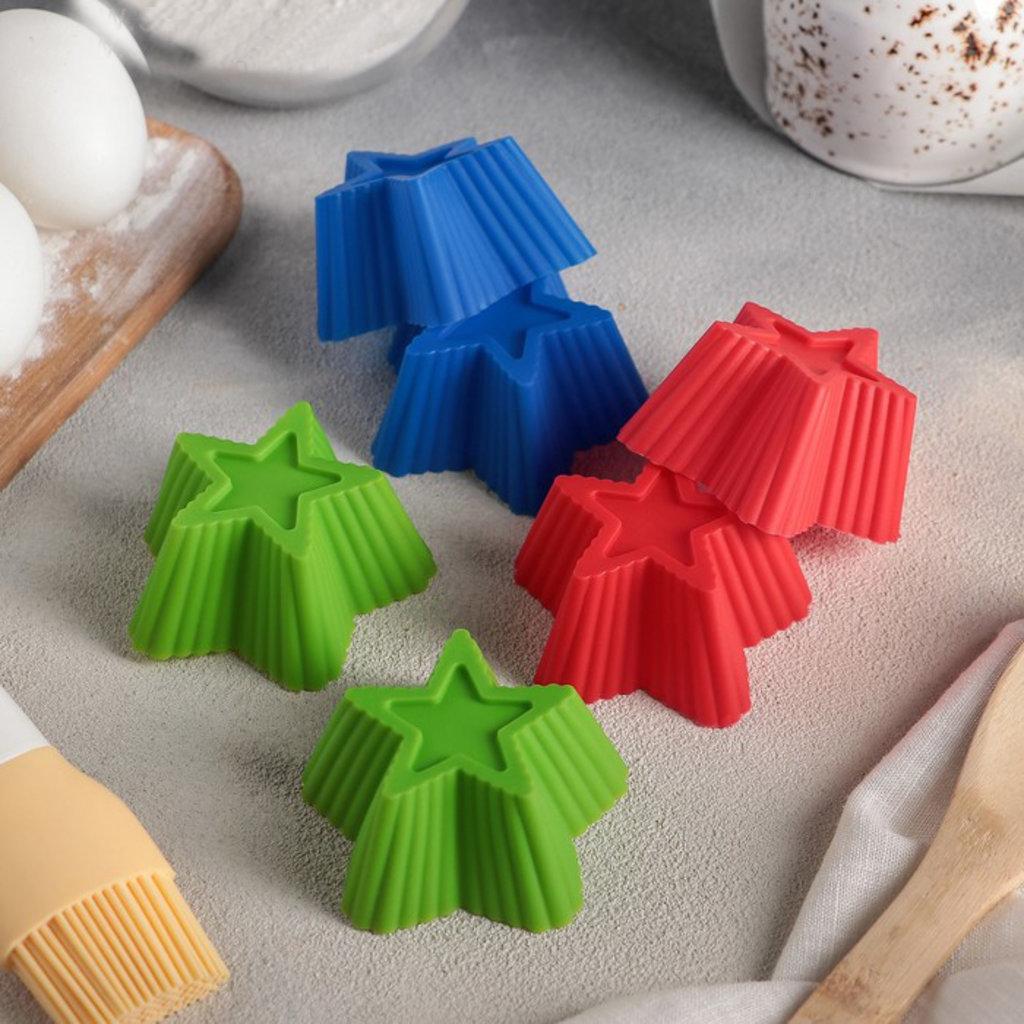 Силиконовые формы для выпечки: Набор форм для выпечки 7 × 7 × 3,5 см «Риб. Звезда», 6 шт., цвета МИКС в ТортExpress