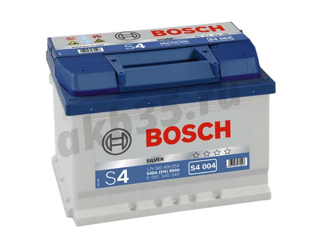 Аккумуляторы: BOSCH 60 А/ч Обратный Низкий S4 004 SILVER (560 409 054) в Планета АКБ