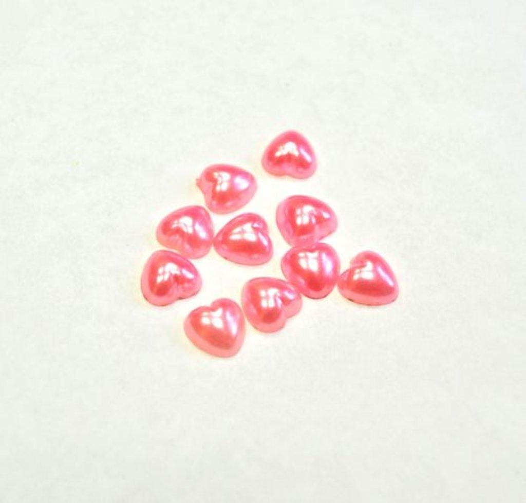 """Стразы, полужемчужины, блёстки: Полубусины пластик """" Сердце 8*8 мм"""" светло-розовый 1шт в Шедевр, художественный салон"""