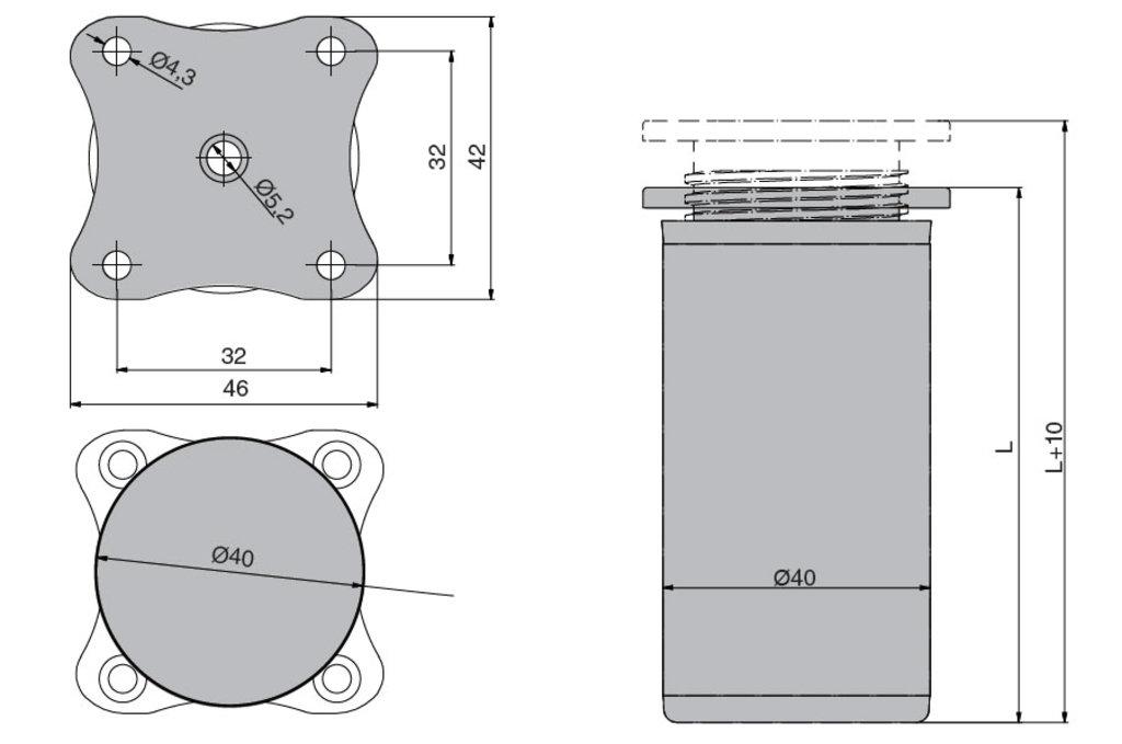 """Мебельная фурнитура """"НОВИНКИ"""": Ножка декоративная d.40мм, h.100мм, отделка алюминий полированный в МебельСтрой"""