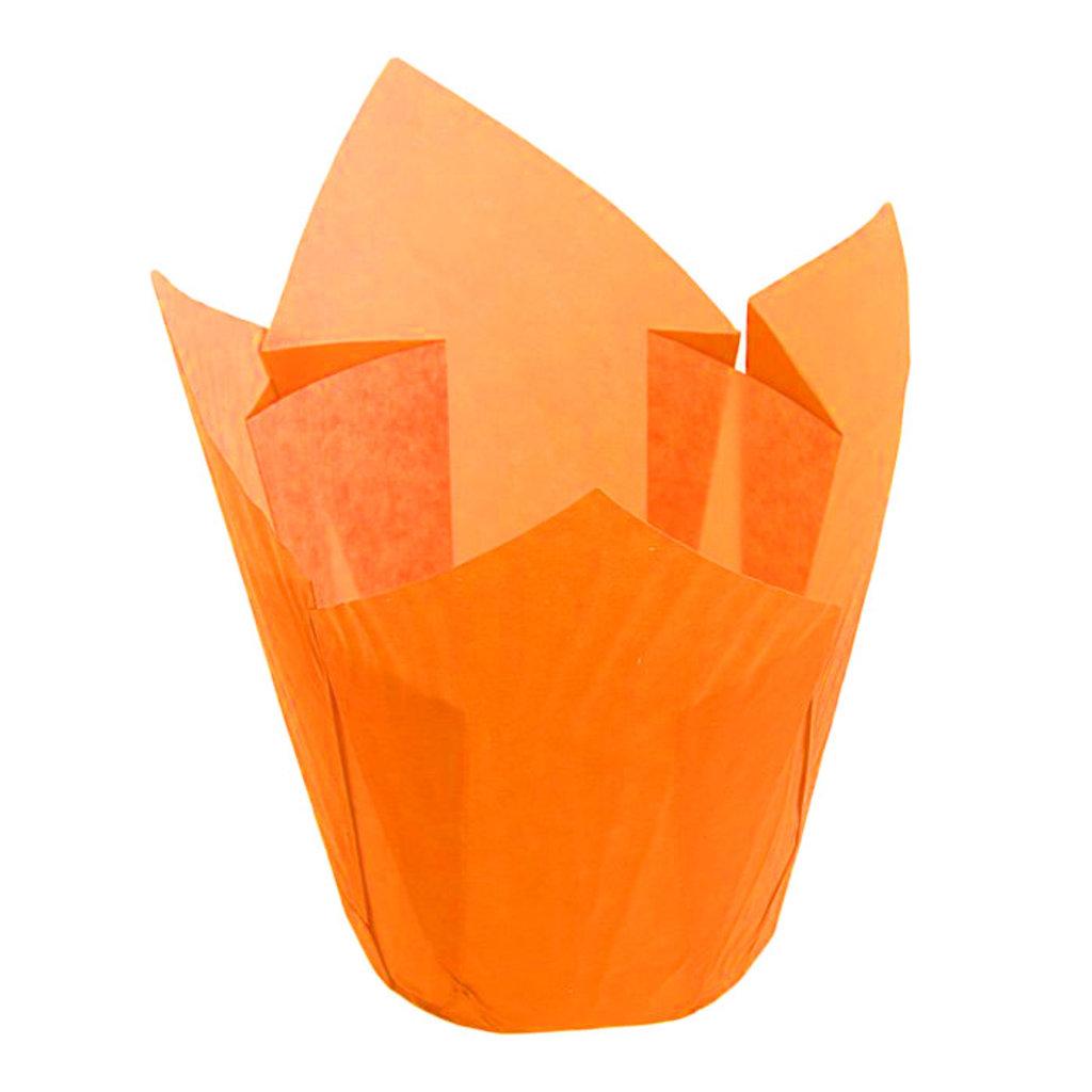 Формы бумажные для выпекания маффинов, пирогов, куличей: Форма бумажная Тюльпан  оранжевый  50х90мм  125шт в ТортExpress
