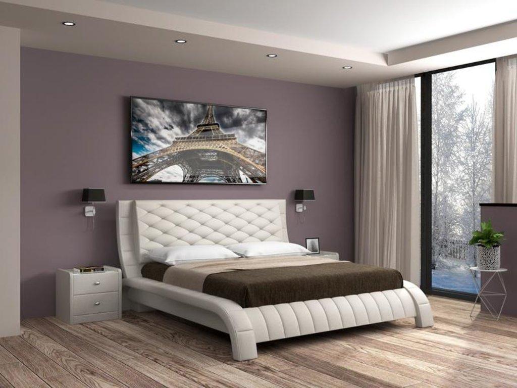 Кровати: Кровать двойная из экокожи Шанель в Уютный дом