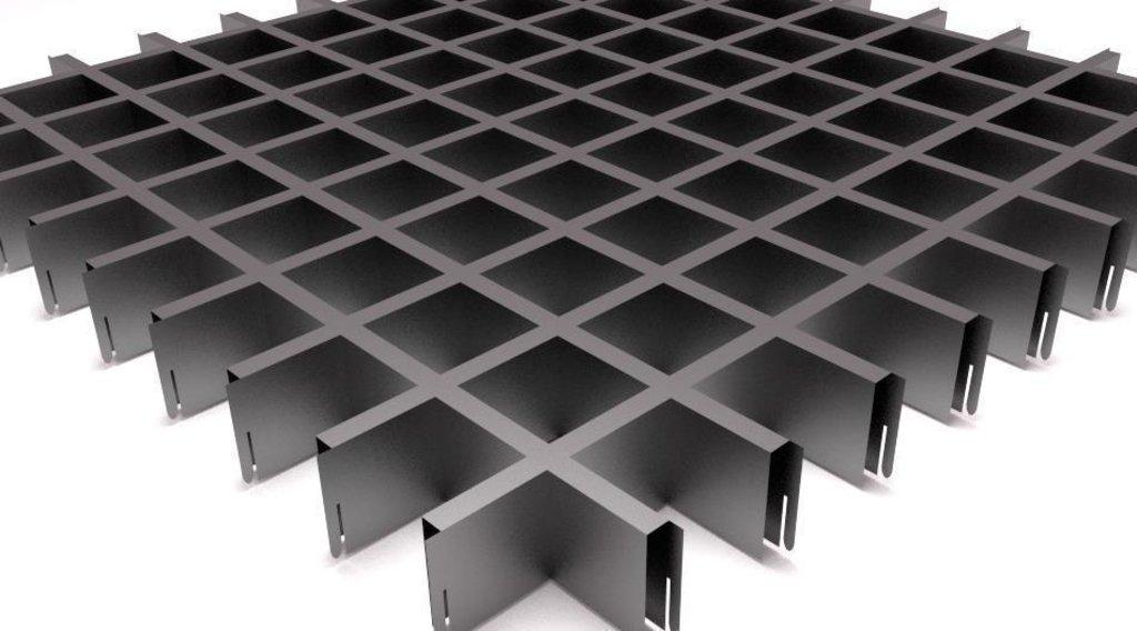 Потолки грильято: Потолок Грильято 150x150 h=40 матовый металлик RAL 9006 (Cesal) в Мир Потолков