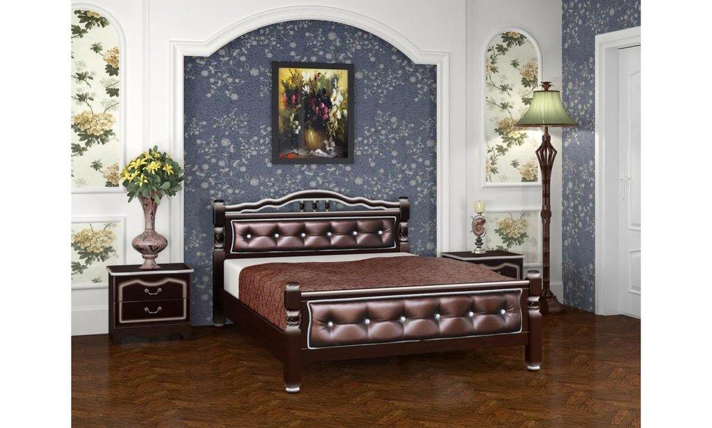 Кровати: Кровать Карина-11 с элементами экокожи (массив) в Уютный дом