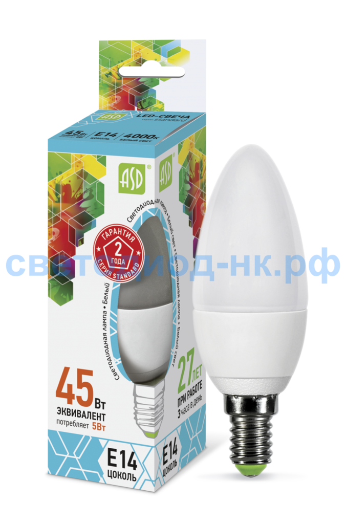 Цоколь Е14: Светодиодная лампа LED-СВЕЧА-standard 5Вт 210-240В Е14 4000К 450Лм ASD в СВЕТОВОД