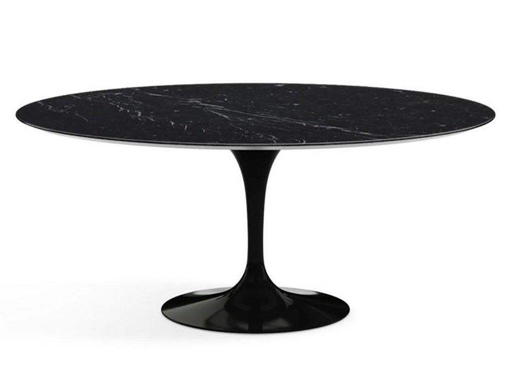 Столы обеденные: Стол обеденный Априори T овальный 100х180 15т мрамор черный в Актуальный дизайн