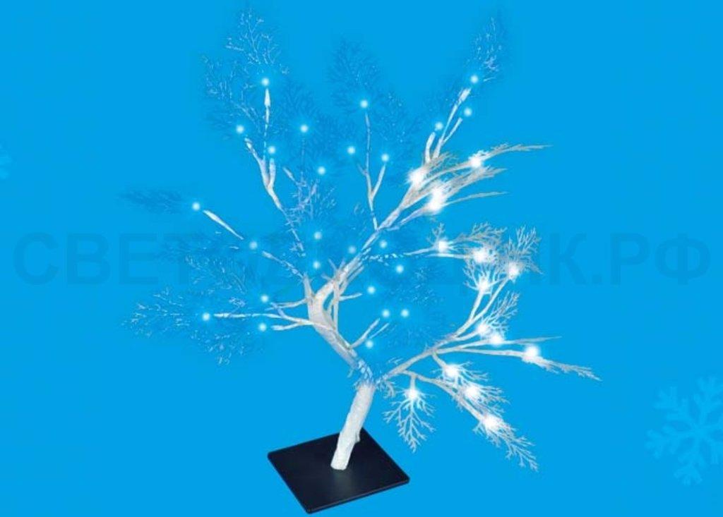Светодиодные деревья: Дерево св/д ULD-T3550-054/SWA 54LED Морозко 50см, бел-син. IP20, провод бел. 4W Uniel в СВЕТОВОД