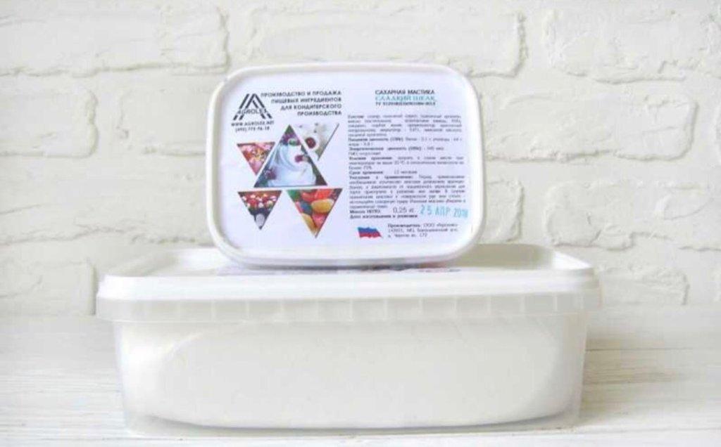 Ингредиенты: Мастика  сахарная для обтяжки Сладкий шелк Белая 1 кг в ТортExpress