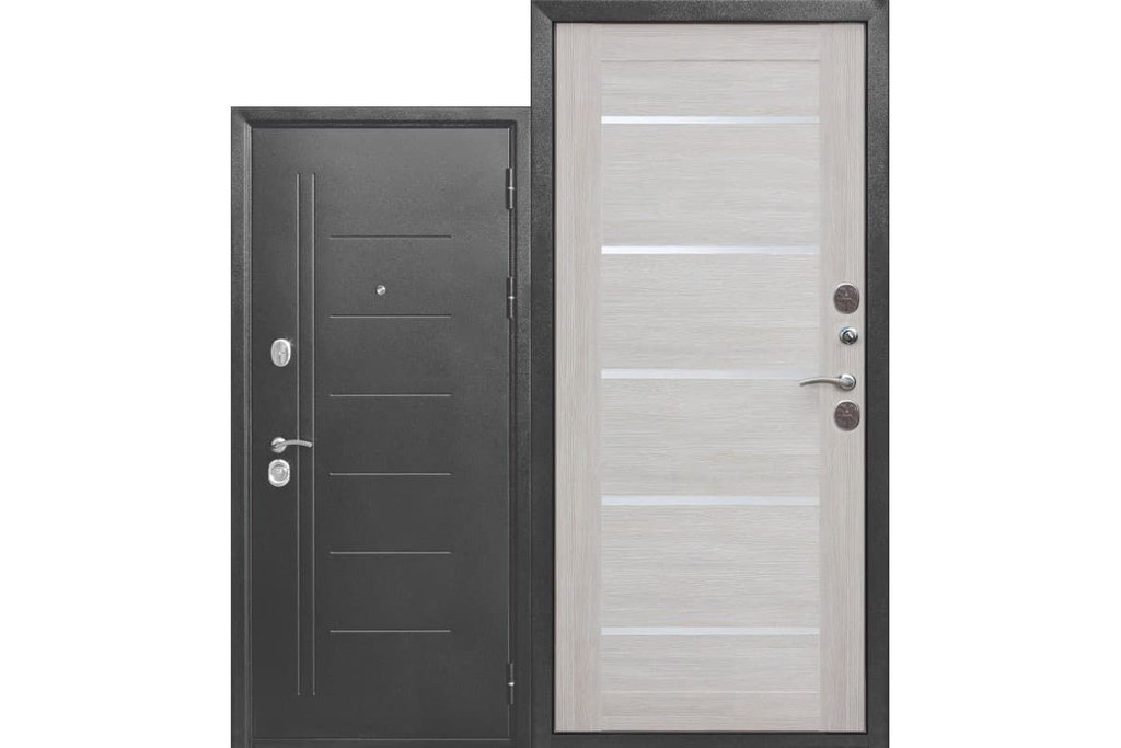 Входные двери (премиум)  от 90-110мм: Входная дверь  ТРОЯ Серебро Царга в STEKLOMASTER