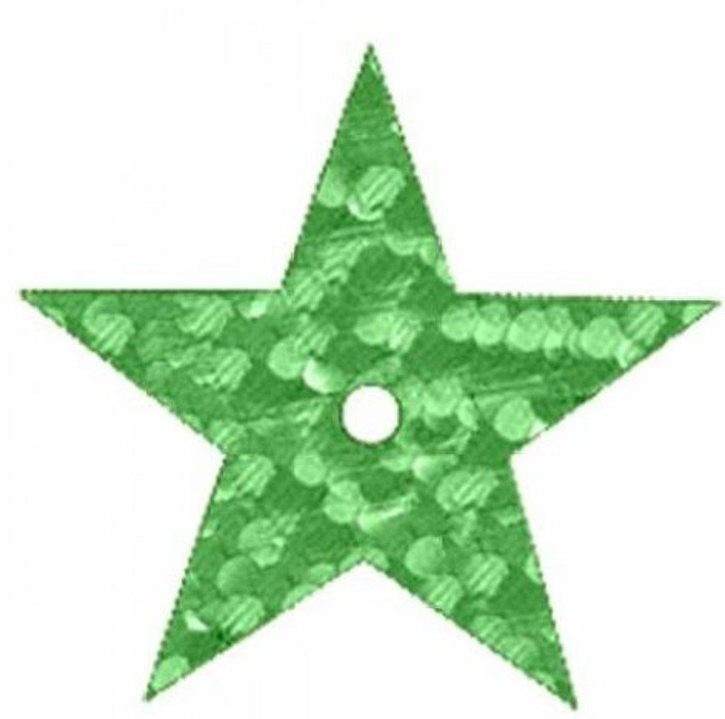 Звездочки: Пайетки звездочки,20мм.,упак/10гр.Астра(цвет:50104 зеленый голограмма) в Редиант-НК