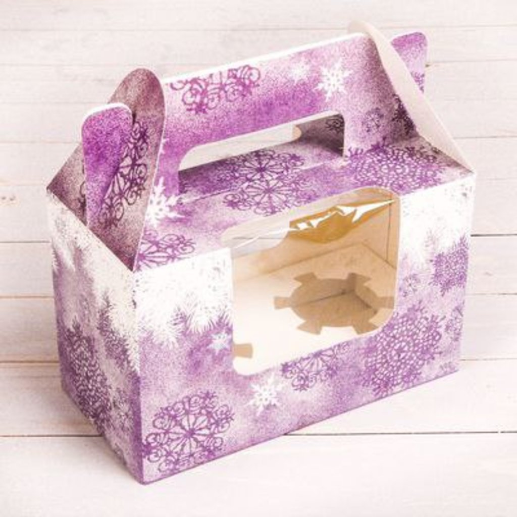"Упаковка: Коробочка под 2 капкейка ""Зимнее волшебство"" в ТортExpress"