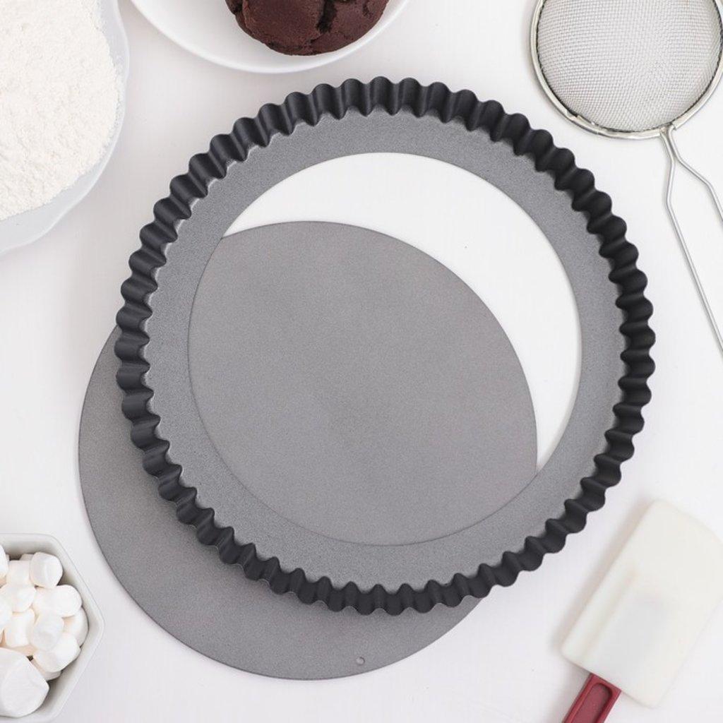 """Металлические и разъёмные формы для выпечки: Форма для выпечки с а/п покрытием """"Жаклин.Рифленый круг"""" 22.7х22.7см в ТортExpress"""