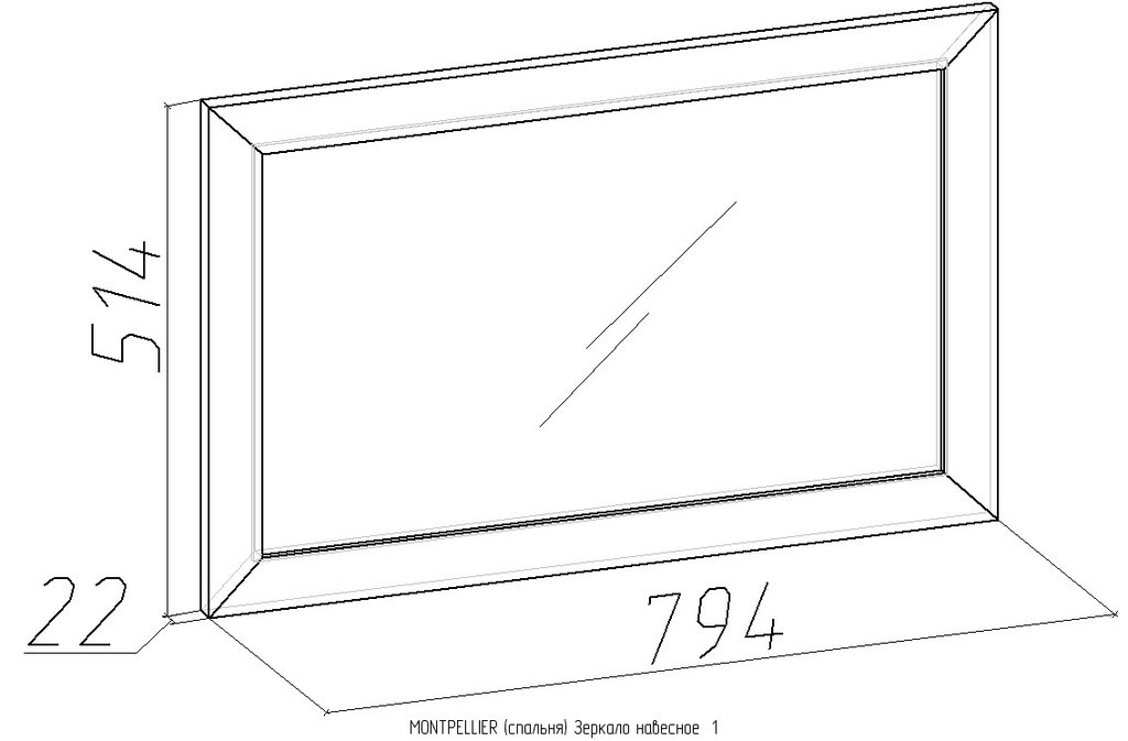 Зеркала, общее: Зеркало навесное Montpellier 1 в Стильная мебель