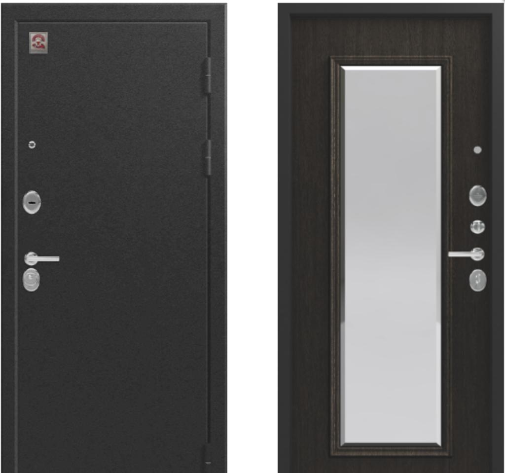 Двери Центурион: Центурион LUX-1 Чёрный муар/Орех премиум в Модуль Плюс