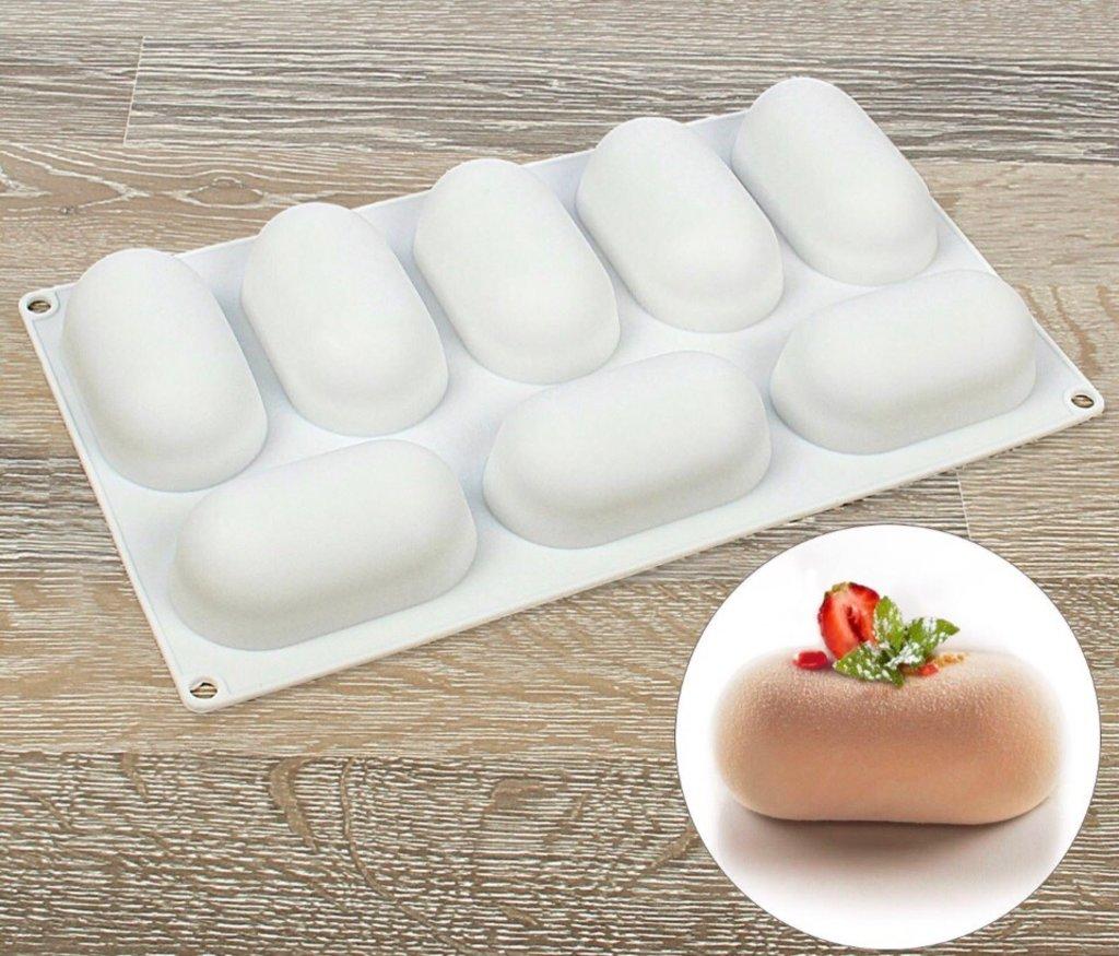 Кондитерский инвентарь: Форма для выпечки муссовых десертов Раузи 8 ячеек в ТортExpress