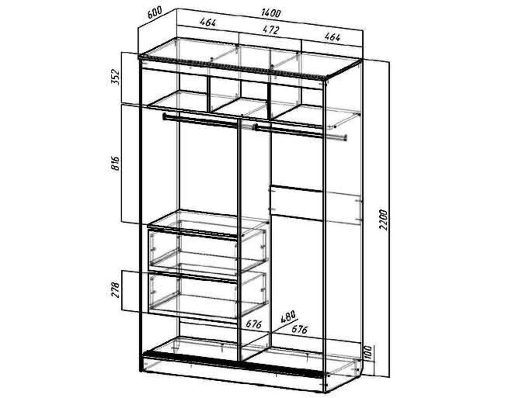 Мебель для спальни Верона. Модульная серия.: Шкаф-купе 1400 Верона в Уютный дом