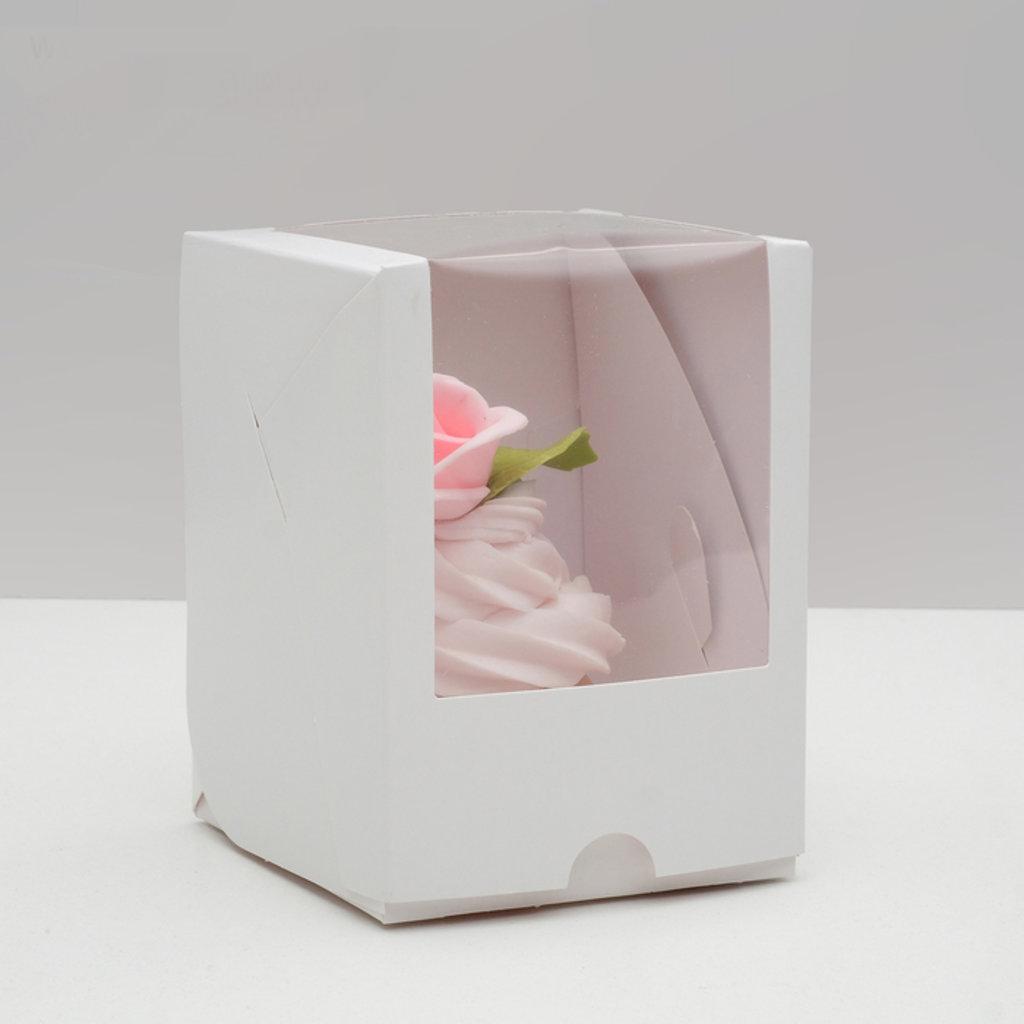 Коробки для капкейков: Упаковка под один капкейк с окном, белая 12,5 х 9,5 х 9,5 см в ТортExpress