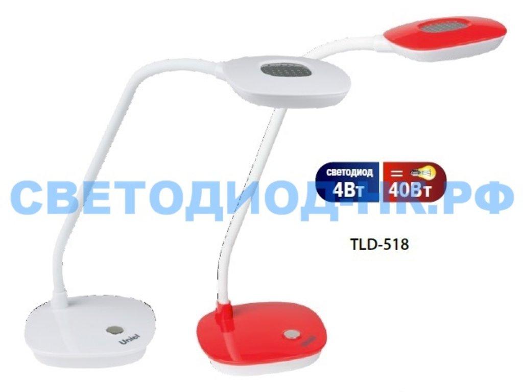 Настольные лампы, ночники: Лампа настольная Uniel TLD-518 LED 400lm 4500K БЕЛЫЙ в СВЕТОВОД