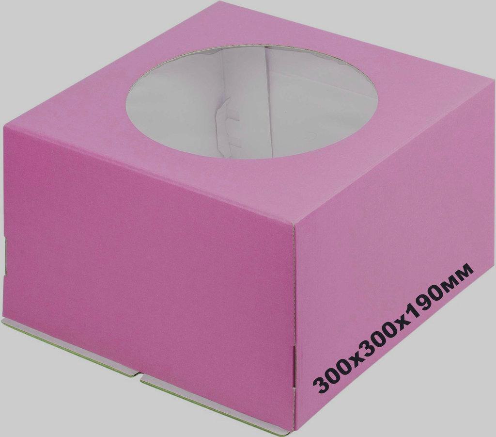 Коробки для тортов: Коробка 300х300х190мм с окном Сиреневая в ТортExpress