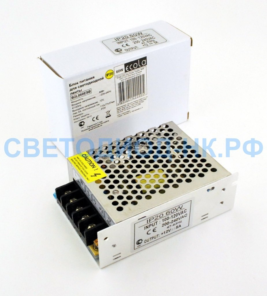 В защитном кожухе: Ecola Блок питания для св/д лент 12V 60W IP20  110*78*36 (интерьерный) B2L060ESB в СВЕТОВОД