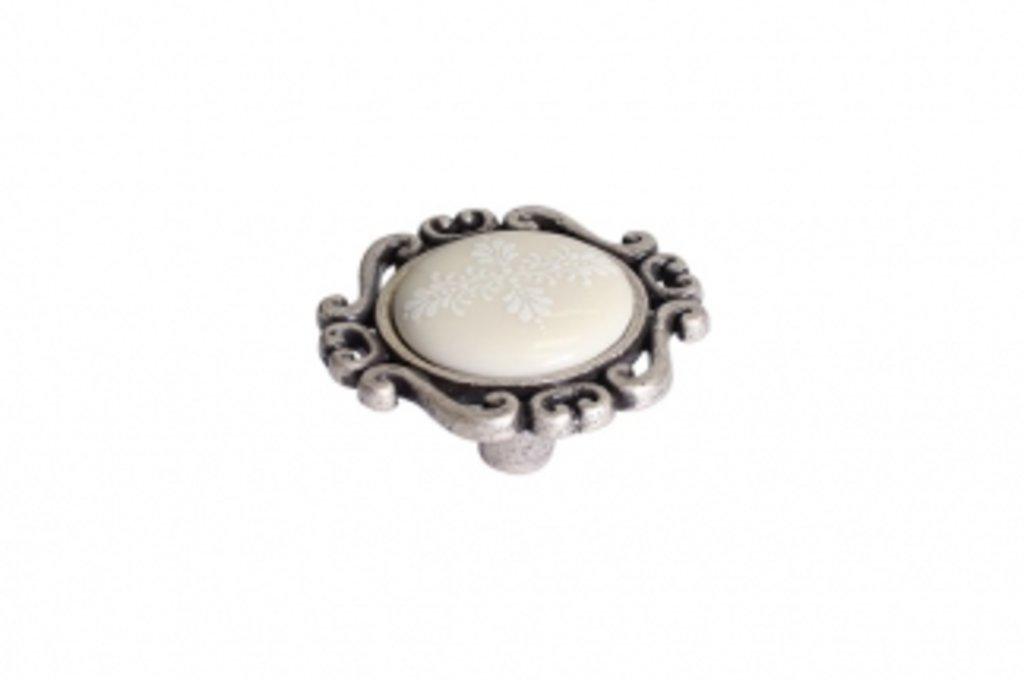 """Мебельная фурнитура """"НОВИНКИ"""": Ручка-кнопка, отделка старое серебро с блеском + керамика в МебельСтрой"""
