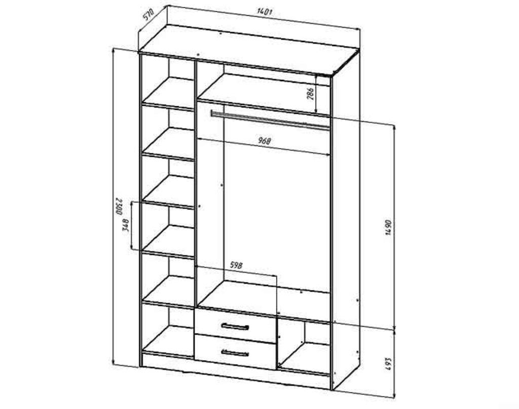 Мебель для спальни  Венеция. Модульная серия.: Шкаф 3-х створчатый 1,4 м. Венеция в Уютный дом