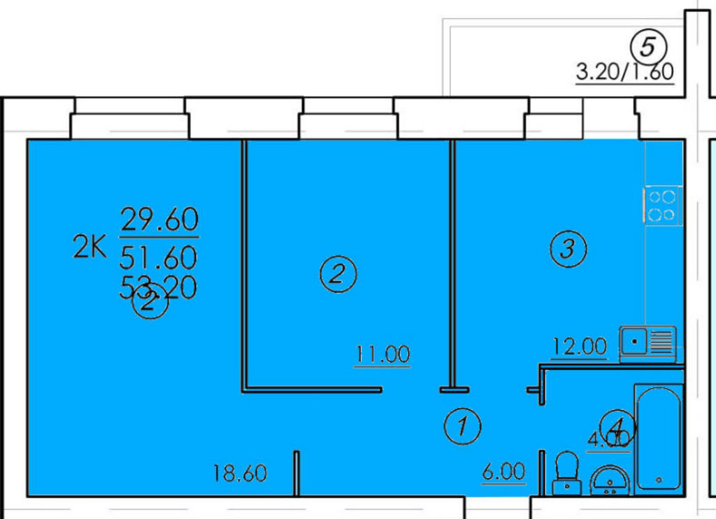 Двухкомнатные квартиры: Двухкомнатная квартира (№87) в РСУ-15  Специализированный застройщик ООО